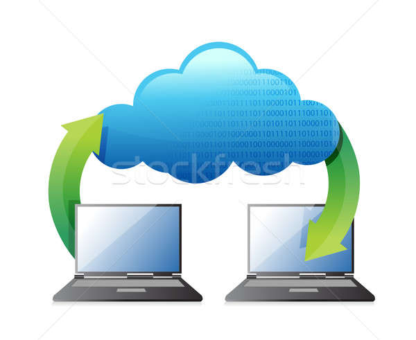 Laptop transferring to cloud  Stock photo © alexmillos