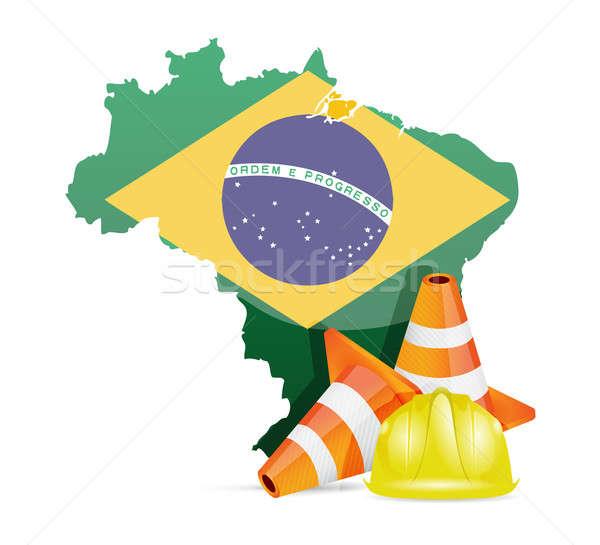 Brezilya inşaat iş yol Bina çalışmak Stok fotoğraf © alexmillos