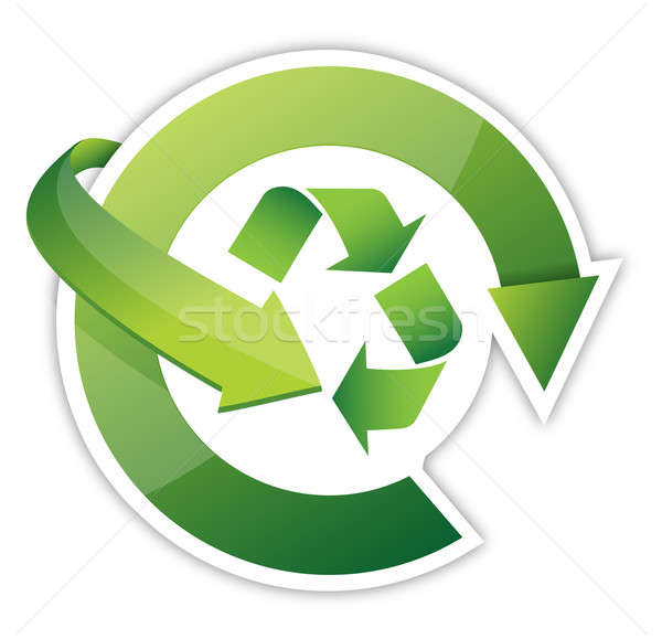 Recycle Arrows, recycle symbol cycle, illustration design over w Stock photo © alexmillos