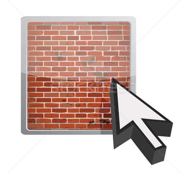 Firewall przycisk ilustracja projektu biały Internetu Zdjęcia stock © alexmillos