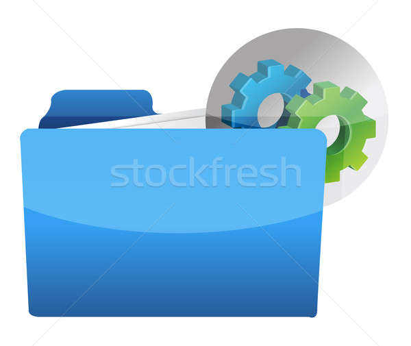folder icon with gear wheel illustration design over white Stock photo © alexmillos
