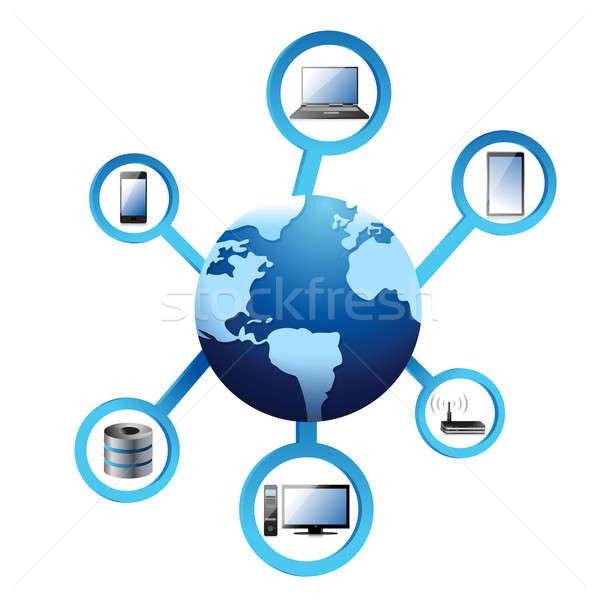 Globe electronic network Concept illustration design over white Stock photo © alexmillos