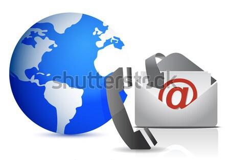 Wereldbol mailbox illustratie wereld metaal aarde Stockfoto © alexmillos