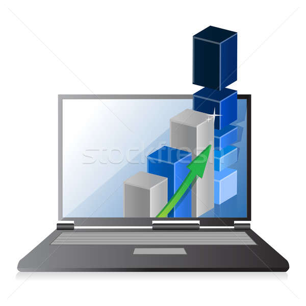 Laptop with business or profits growth bar graph  Stock photo © alexmillos