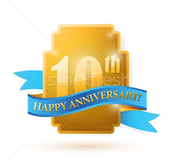 10 anni anniversario sigillo nastro illustrazione Foto d'archivio © alexmillos