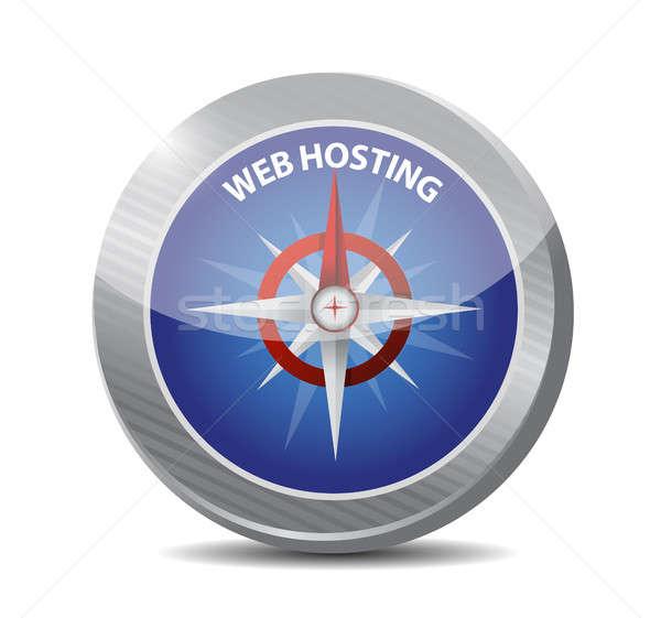 Háló hosting iránytű felirat illusztráció grafikai tervezés Stock fotó © alexmillos