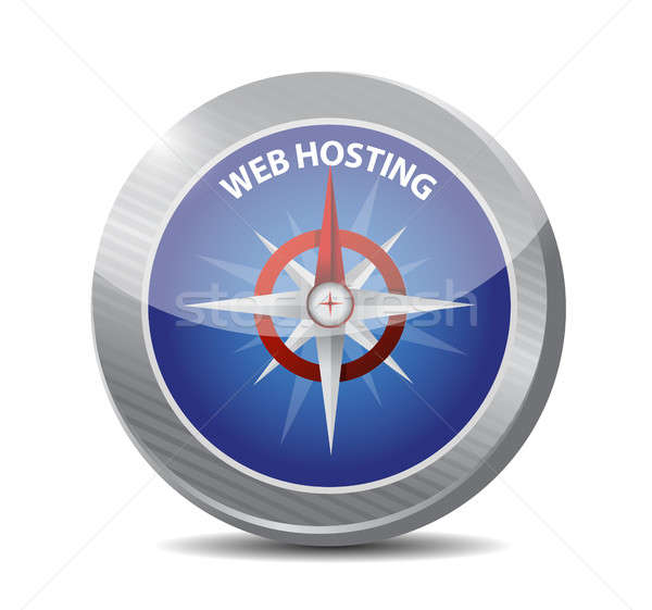 Web hosting kompas teken illustratie grafisch ontwerp Stockfoto © alexmillos
