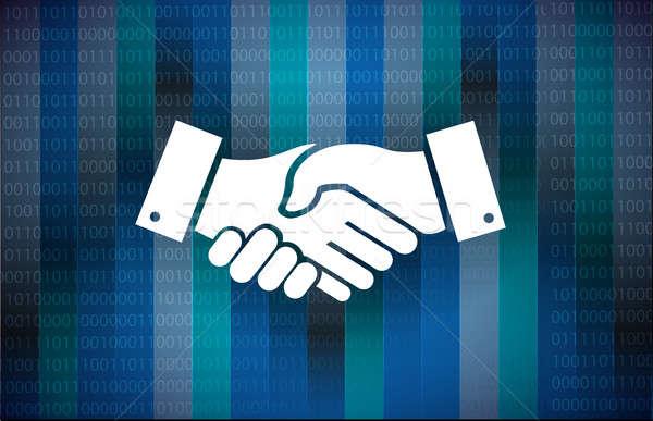 бизнеса соглашение рукопожатие двоичный иллюстрация дизайна Сток-фото © alexmillos