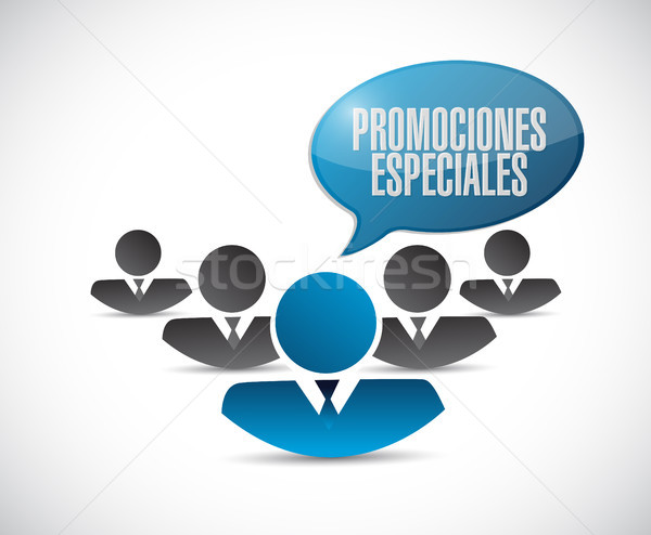special promotions in Spanish teamwork sign Stock photo © alexmillos