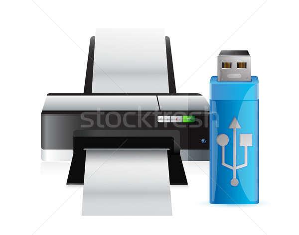 Stock photo: printer and usb stick
