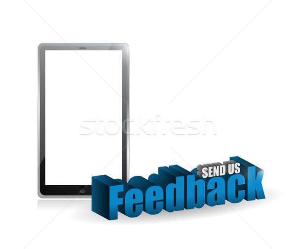 tablet feedback 3d blue sign illustration Stock photo © alexmillos