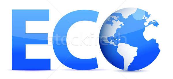 blue word Eco with 3D globe illustration Stock photo © alexmillos