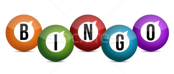 brightly coloured bingo balls illustration design  Stock photo © alexmillos
