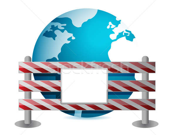 Globe behind a road barrier illustration design Stock photo © alexmillos