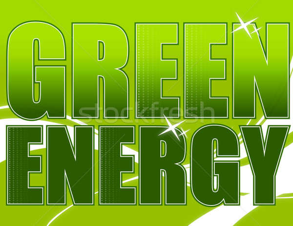 Green energy design over a light green background with waves Stock photo © alexmillos