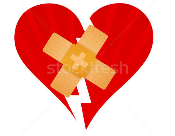 Broken heart with a band aid illustration design over white Stock photo © alexmillos