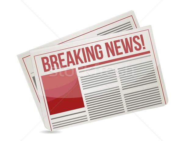 newspaper headline reading breaking news illustration Stock photo © alexmillos
