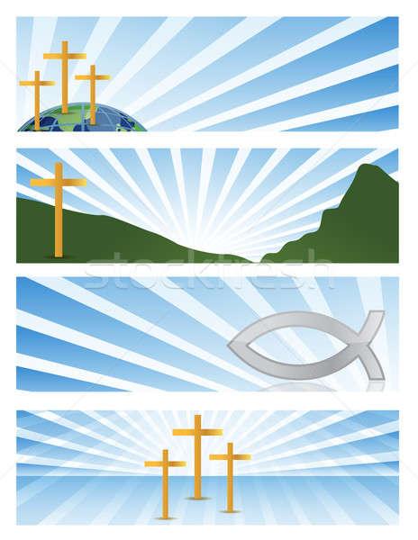четыре иллюстрация религиозных Баннеры изолированный белый Сток-фото © alexmillos
