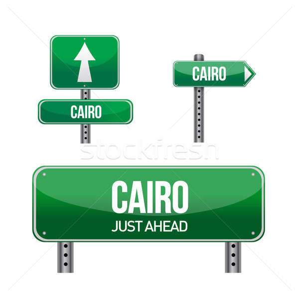 cairo egypt city road sign illustration design over white Stock photo © alexmillos