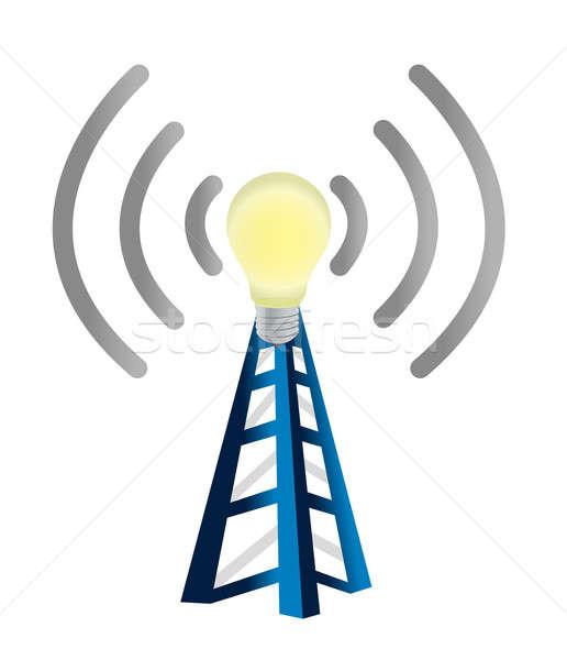 idea wifi tower illustration design over white Stock photo © alexmillos