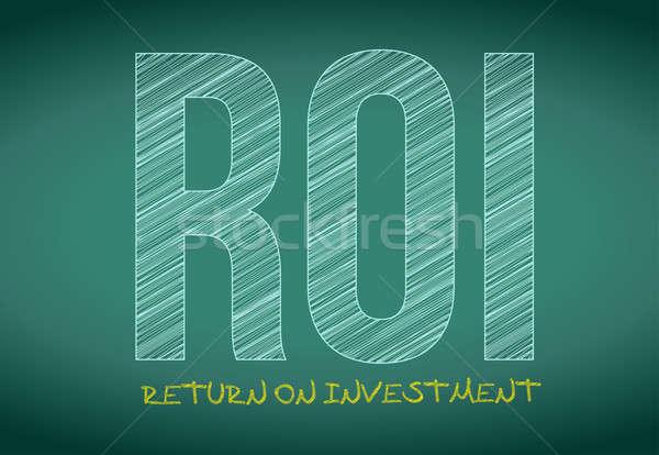 Roi 投資 書かれた 黒板 実例 ストックフォト © alexmillos
