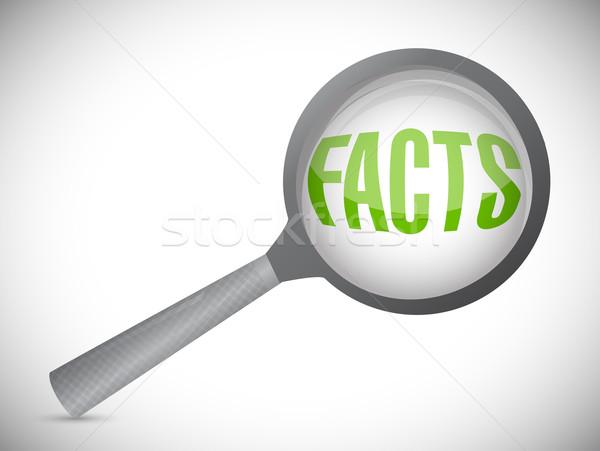 Nagyító mutat tények szó fehér háttér Stock fotó © alexmillos