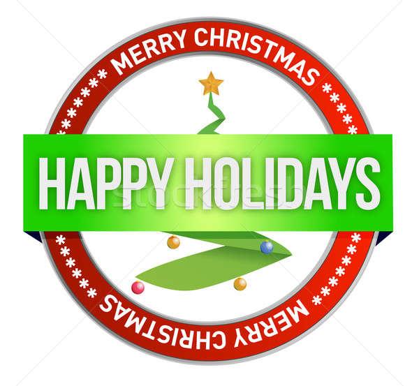 Vidám karácsonyfa bélyeg fóka illusztráció terv Stock fotó © alexmillos