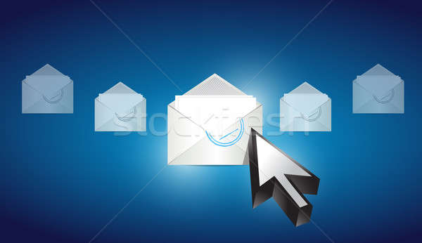 email envelope correspondence selected on a blue binary backgrou Stock photo © alexmillos
