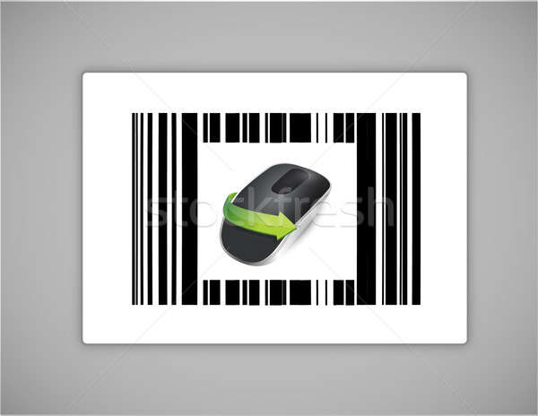 barcode and Wireless computer mouse isolated on white background Stock photo © alexmillos