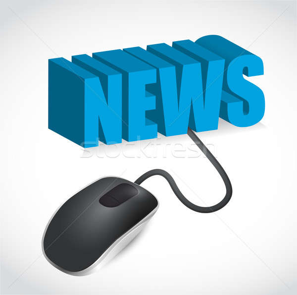 Stock photo: Computer mouse and news word illustration design over white