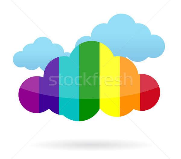 Kolorowy Chmura informacji ilustracja projektu biały Zdjęcia stock © alexmillos