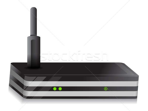 Wireless Router illustration design over a white background Stock photo © alexmillos