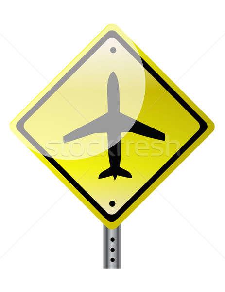 triangular road sign with plane illustration design over white Stock photo © alexmillos