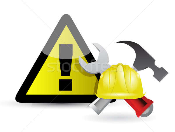 Figyelmeztető jel illusztráció munka munkás ipari kalap Stock fotó © alexmillos