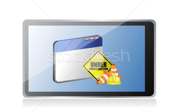 Tablet web sitesi inşaat imzalamak bilgisayar yol Stok fotoğraf © alexmillos