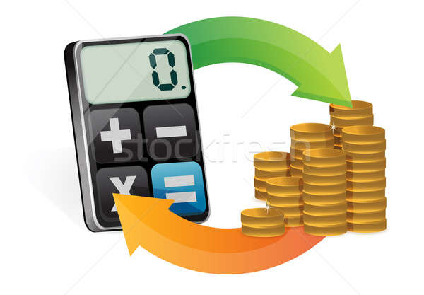 Business money cycle and modern calculator Stock photo © alexmillos