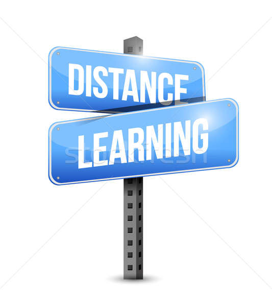 Distance learning road sign illustration design Stock photo © alexmillos