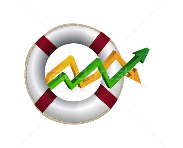 Stock photo: lifebuoy. up and down arrow graph isolated