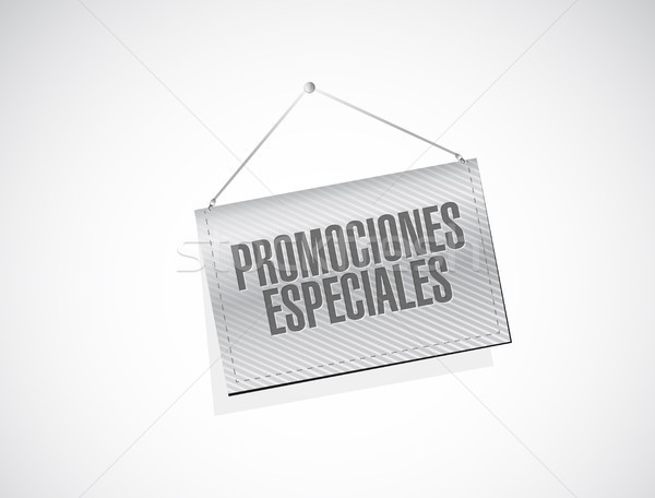 special promotions in Spanish hanging sign concept Stock photo © alexmillos