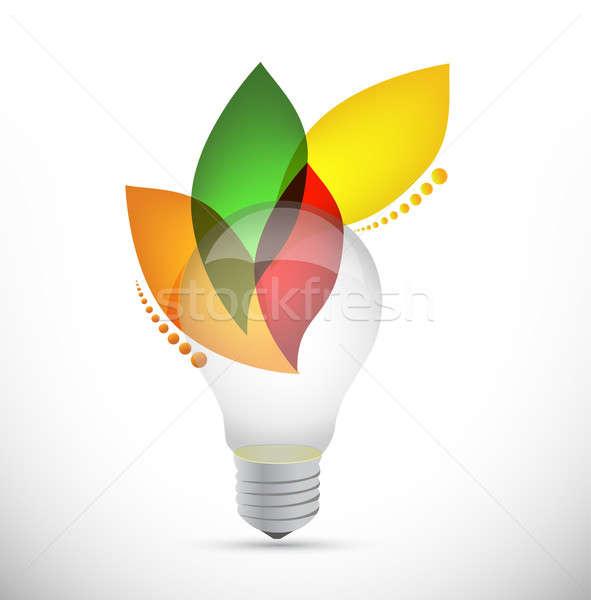 lightbulb leaves idea concept illustration Stock photo © alexmillos