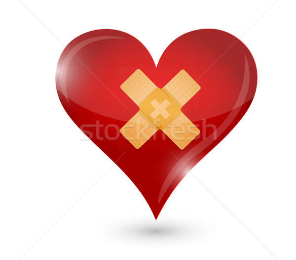 broken heart. heart and band aid Stock photo © alexmillos