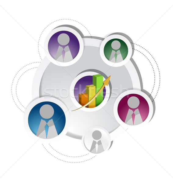 Foto stock: Reunião · de · negócios · ilustração · projeto · gráfico · branco · trabalhar
