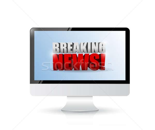 ニュース速報 にログイン コンピュータ 実例 デザイン 白 ストックフォト © alexmillos