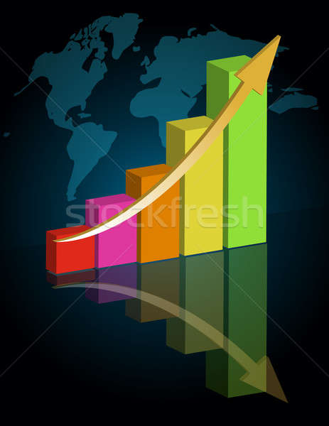 Business graph with world background. / Business success - graph Stock photo © alexmillos