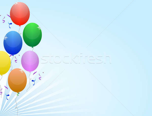 Multicolored balloon frame with ribbon and confetti on a light b Stock photo © alexmillos