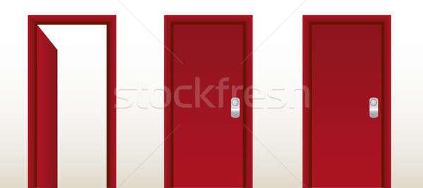 Open rosso porta uscire soluzione casa Foto d'archivio © alexmillos