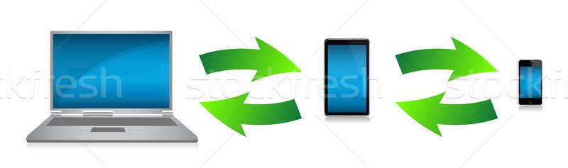 Stock fotó: Technológia · elektronika · illusztráció · terv · biztonság · notebook