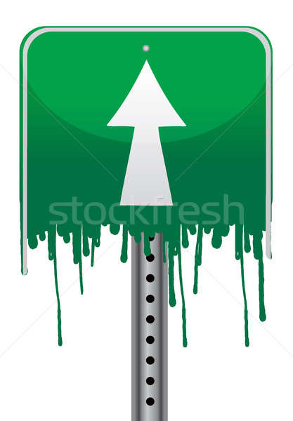 Melting green street sign illustration design Stock photo © alexmillos