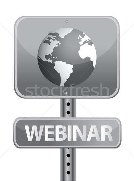 webinar street sign and globe illustration design Stock photo © alexmillos
