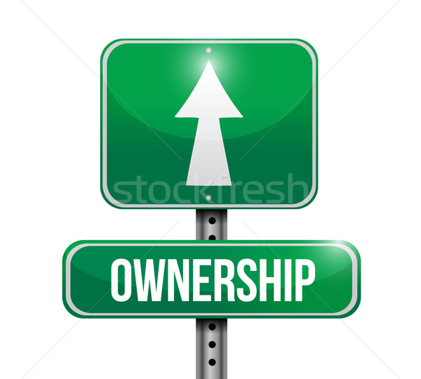 ownership road sign illustrations design over white Stock photo © alexmillos